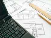 Computer plan drawing scheme house apart — Stock Photo