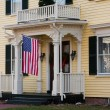 Foto Stock: House Entrance With American Flag