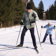 Older persons on skis — Stock Photo
