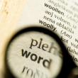 Stock Photo: Word magnified with small loupe