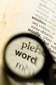 Word magnified with small loupe — Stock Photo