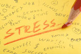 Word stress written with red color pencil that broke — Stock Photo