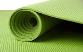 Green Yoga Mat on White — Stock Photo