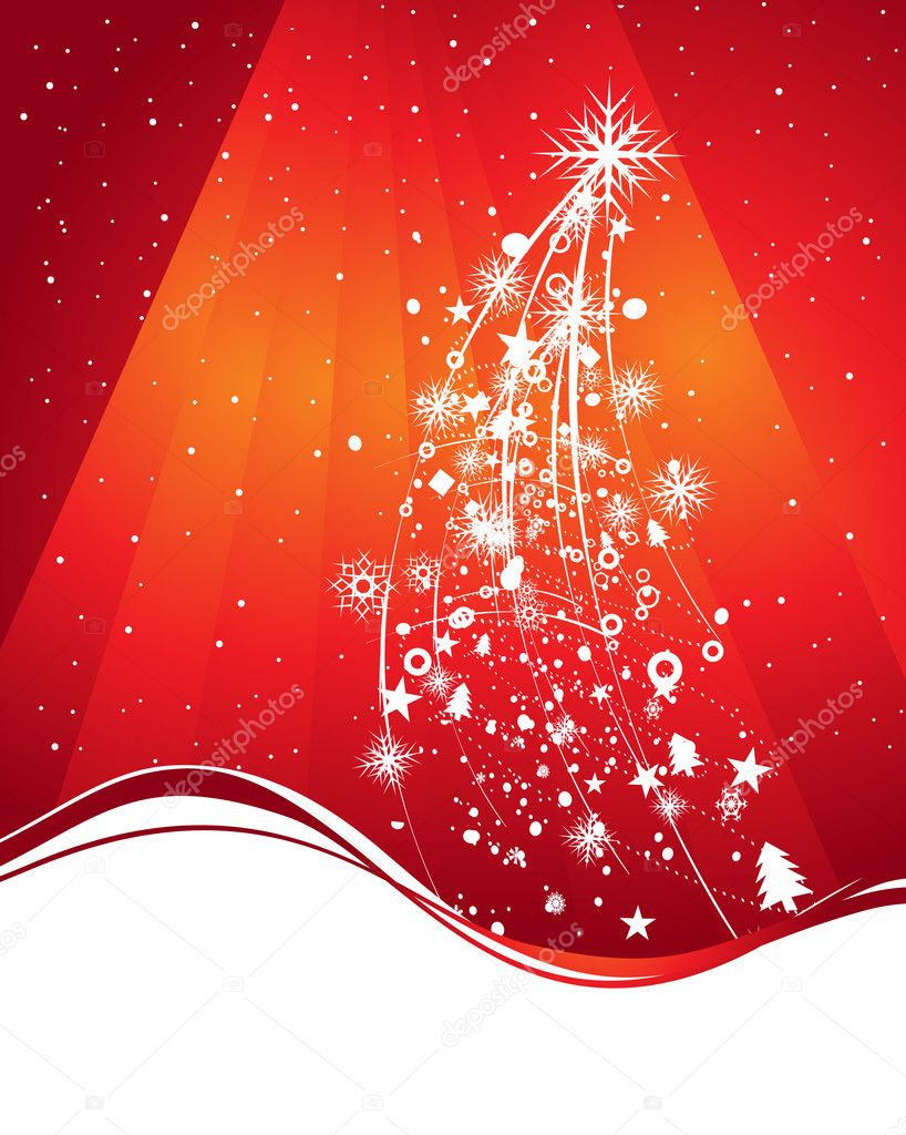 Abstract christmas tree background with space of your text, vector illustration for xmas  Stock Vector #2295008