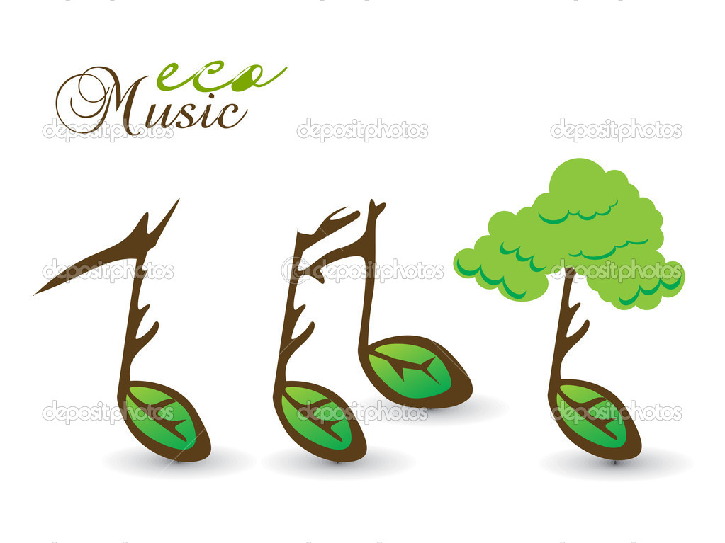 Spring eco card on music note theme, vector illustration.  Stock Vector #2364720