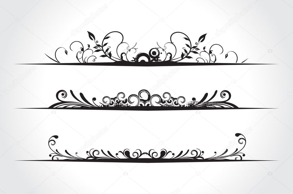 Three different floral banners with place for your text. vector illustration — Stock Vector #2364918