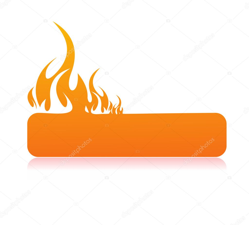 Burning flame banner with space of your text, vector illustration — Stock Vector #2514784