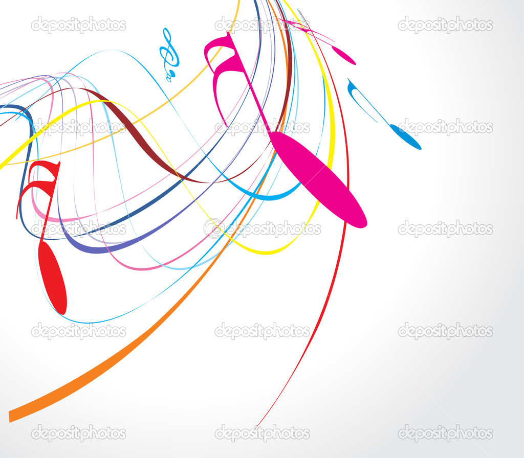 Musical wave line of musical notes, vector illustration  Imagen vectorial #2514948
