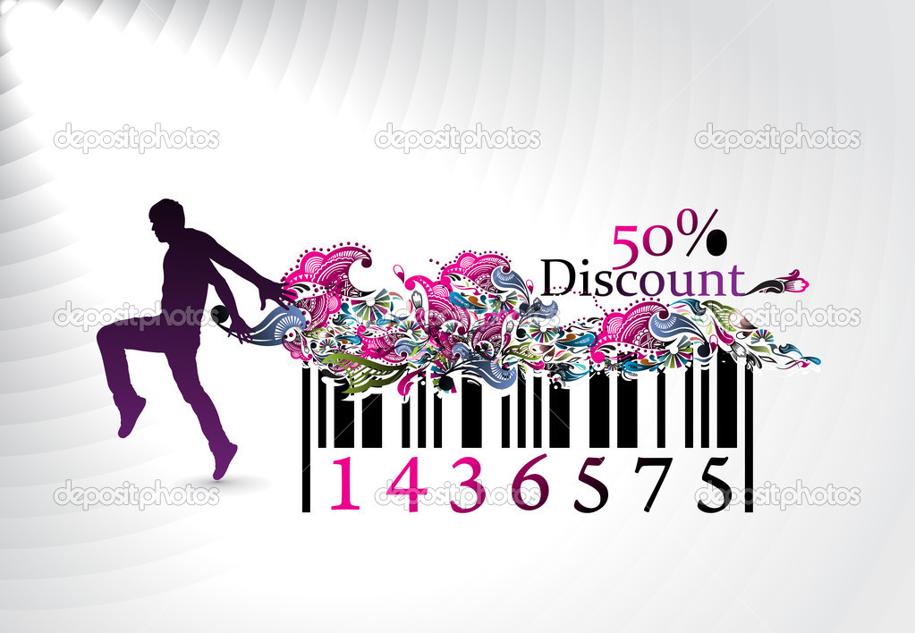 50% discount, man showing of discount in bar code element concept. Vector illustration.  Stock Vector #2566754
