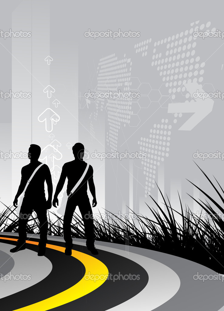  young boys on the road and look to the future, vector illustration  Stock Vector #2567225