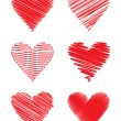 Set of scribbled hearts (vector) — Vector de stock