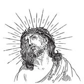 Jesus Christ engraving (vector) — 图库矢量图片