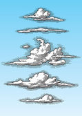 Set of retro clouds (vector) — Vetorial Stock