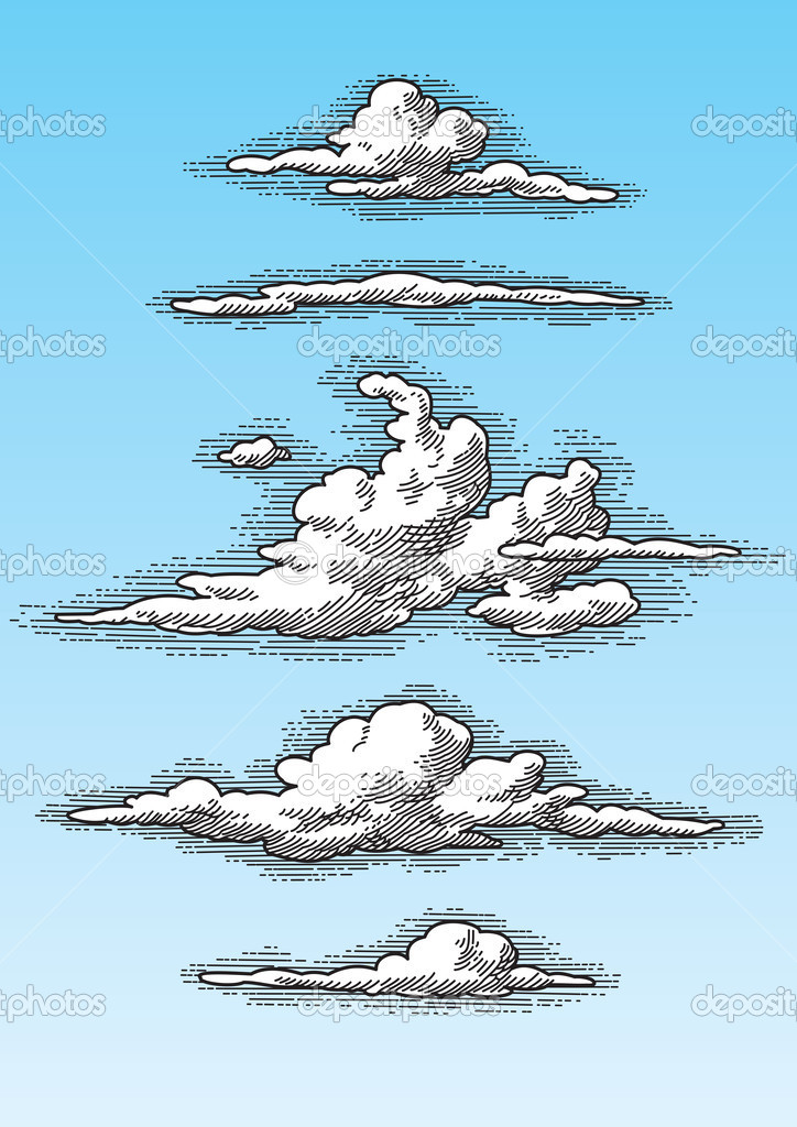 Set of retro hand drawn clouds, engraving style, perfectly scalable and editable vector illustration.  Stock Vector #2198289