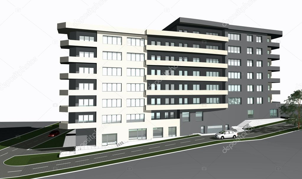 3D render of modern residential building against white background — Stock Photo #2274372