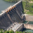 Close up image of a water barrier dam - Stock Photo