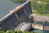 Close up image of a water barrier dam — Stock Photo