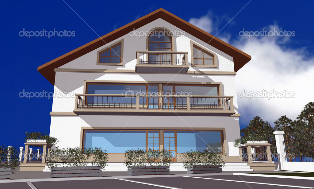 3D render of modern house isolated over blue sky — Stock Photo #2332474