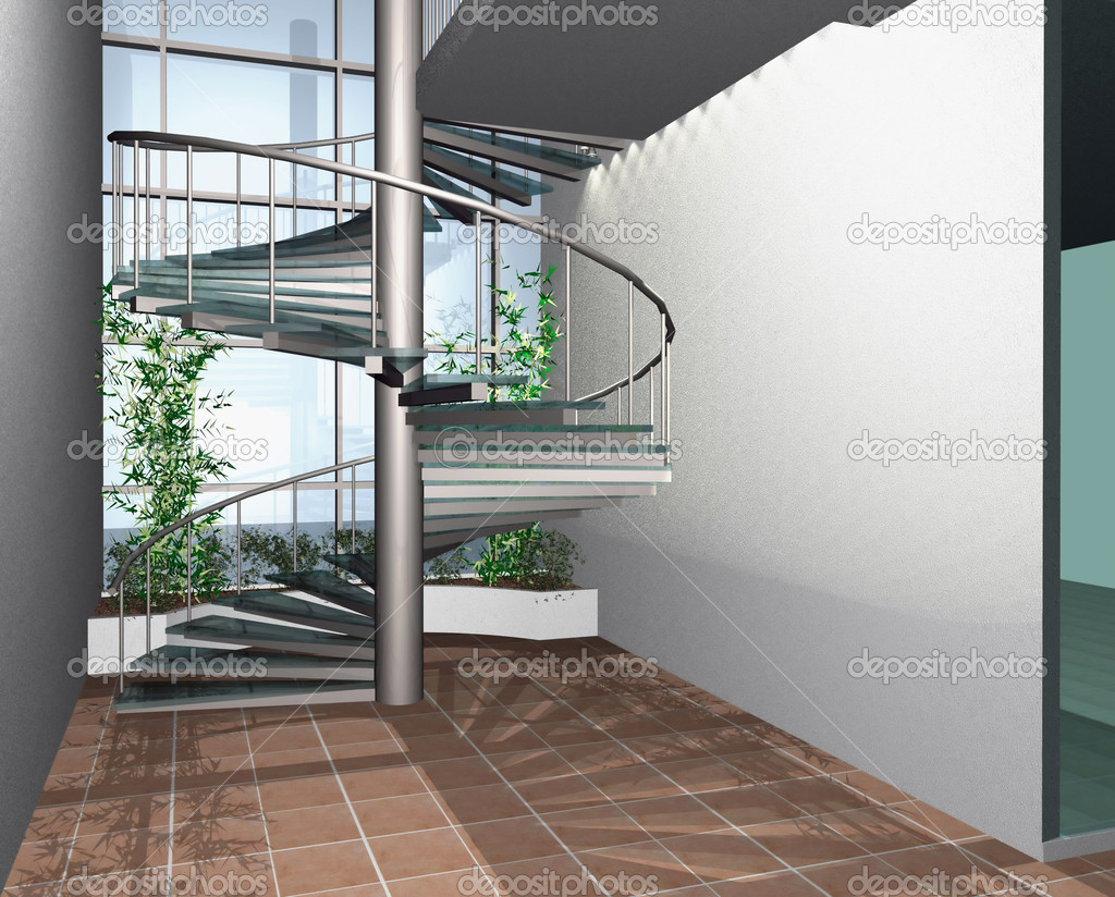 3D render of modern house building interior with circle stairs — Stock Photo #2332492