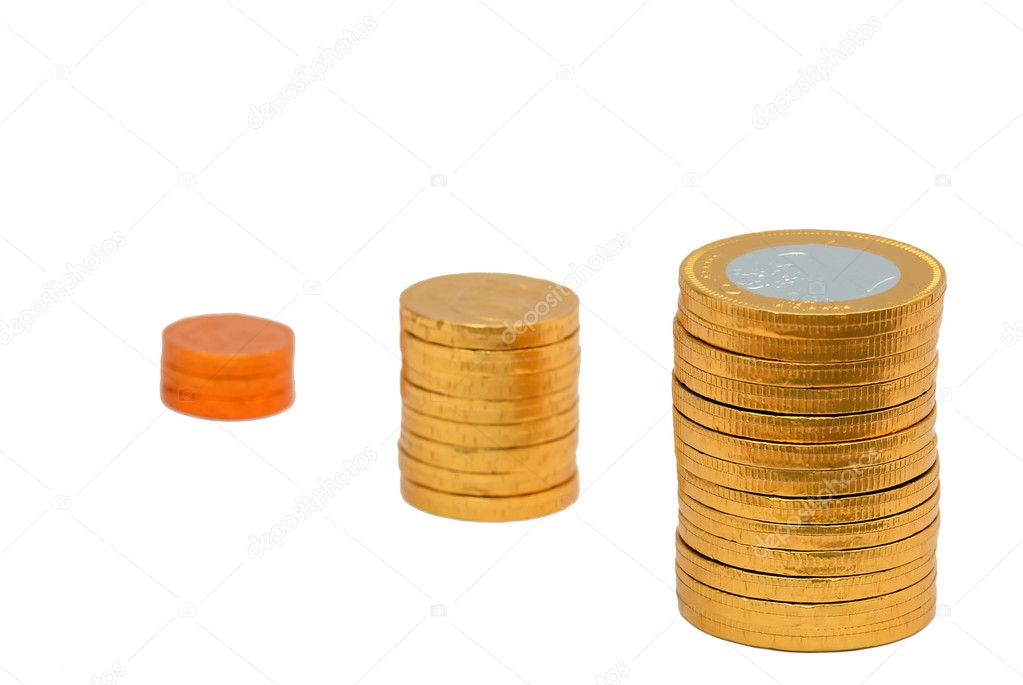 Increasing columns of coins symbolizing profit isolated over white background — Stock Photo #2333342