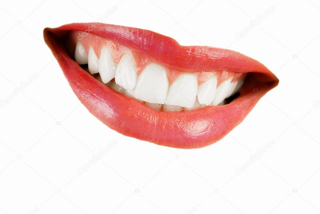 Smiling woman mouth with great  teeth isolated over white — Stock Photo #2334638