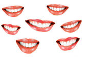 Various smilling women mouth — Stock Photo