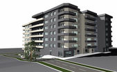 3D render of modern residential building — Stock Photo