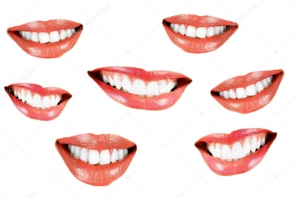 Various smilling women mouth isolated over white background — Stock Photo #2452739