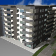 Stock Photo: 3D render of modern residential building