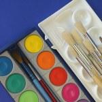 Watercolors and brush — Stock Photo