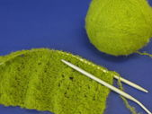 Green knitting — Stock Photo