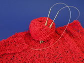 Red knitting — Stock Photo