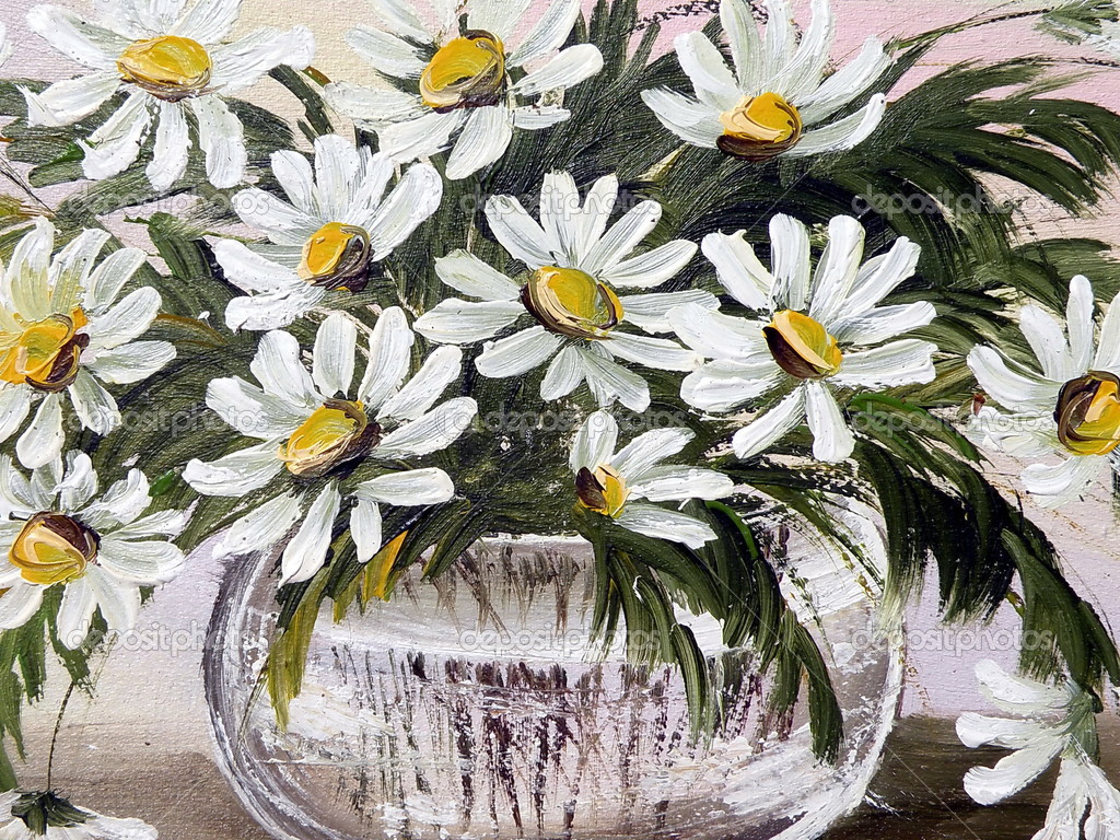 Oil painted canvas with marguerite flowers  Stock Photo #2683555
