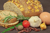 Rye bread and vegetables — Stock Photo
