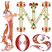 Capitals and initials of the ancient manuscripts — Stock Vector