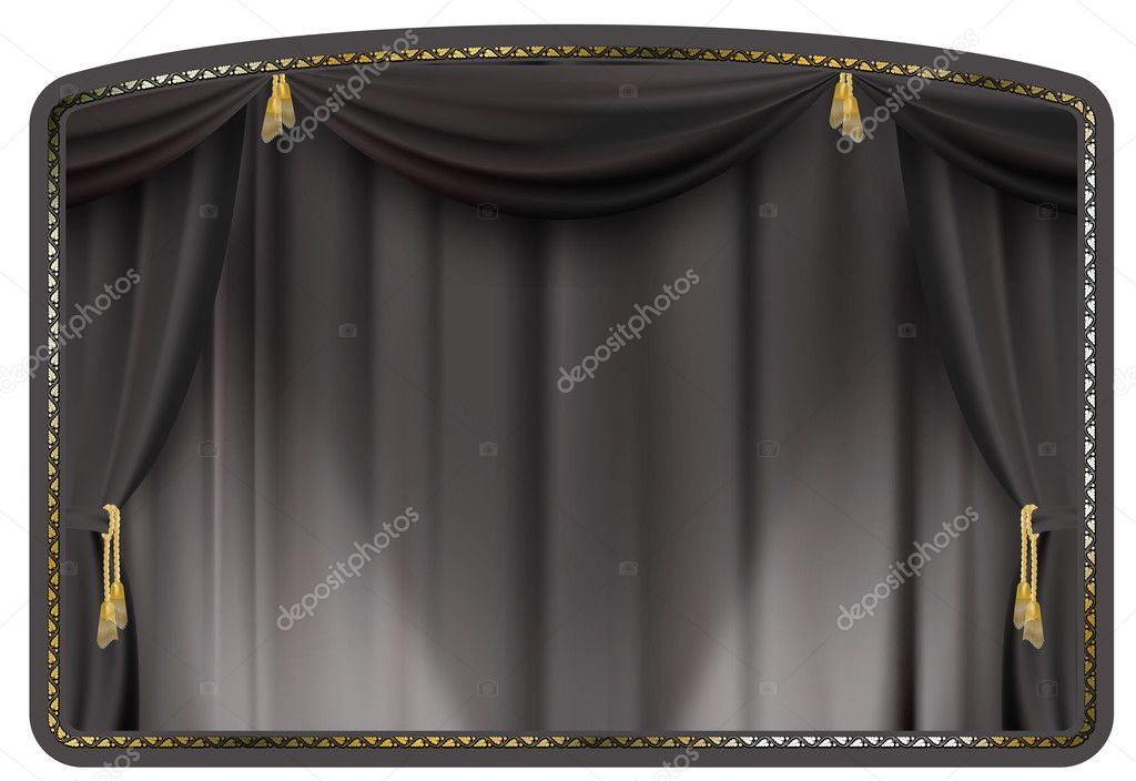 Theater curtain black tied with gold tassels  Stock Vector #2638585
