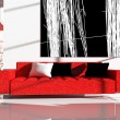 Red furniture in an interior — Stock Photo