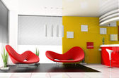 Red sofa in cafe — Stock Photo