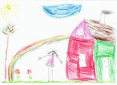 Children's figure on a paper — Foto de Stock