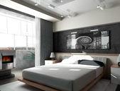 Ložnice v noci — Stock fotografie