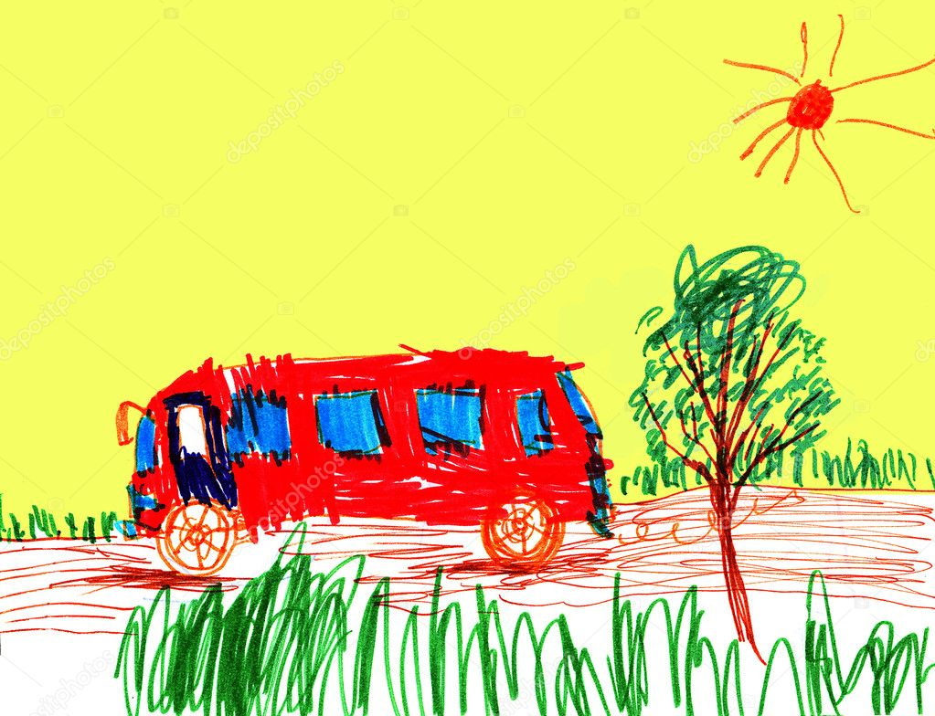 The school bus children's figure on a paper — Stock Photo #2213243