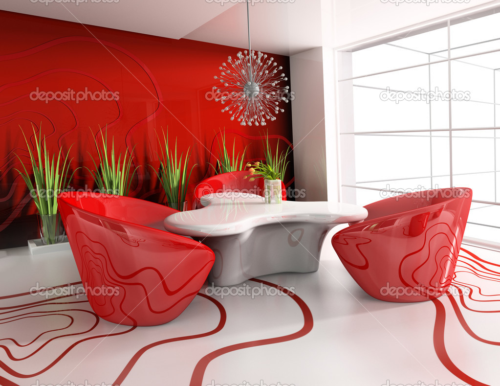 Dining table in modern cafe 3d image — Stock Photo #2214419