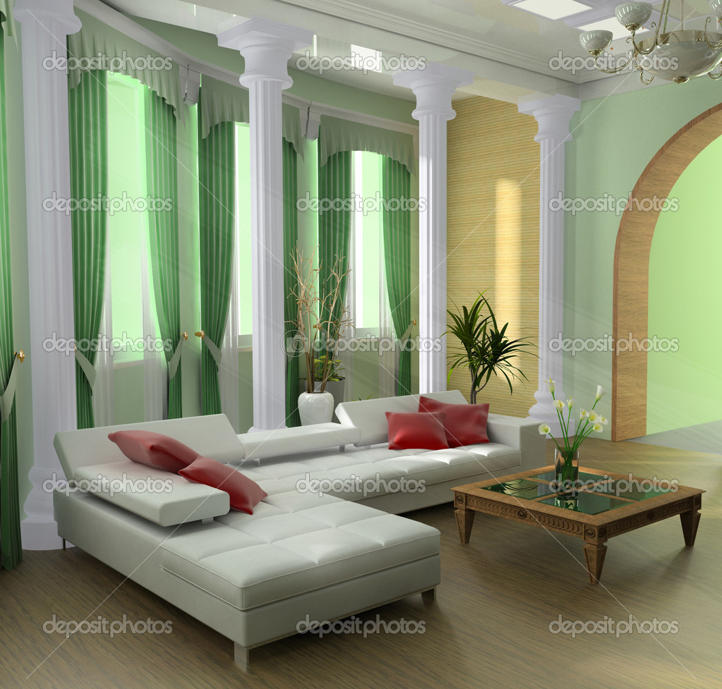 Modern interior of a room 3d image — Stock Photo #2219176