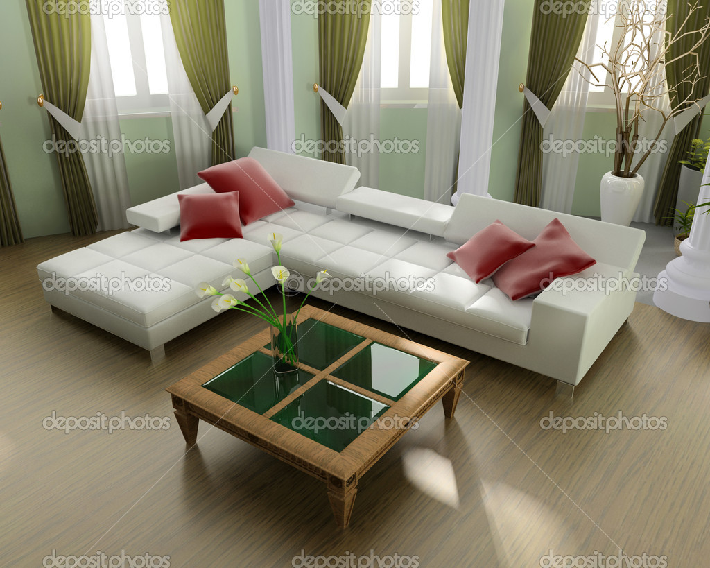 Modern interior of a room 3d image — Stock Photo #2219202