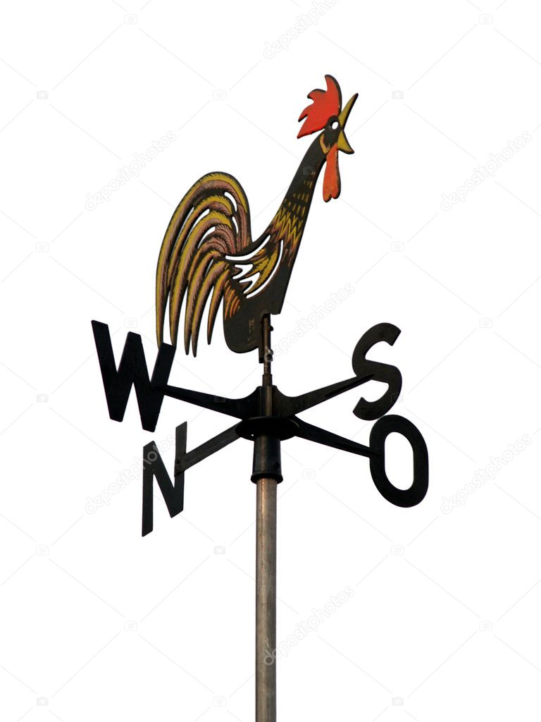 Old rooster shaped weather vane pointing south isolated on white background — Stock Photo #2209975