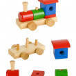 Wooden toy train with all elements — Stock Photo