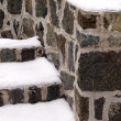 Stone steps covered in snow — Stock Photo