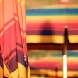 Stock Photo: Closed colorful parasol closeup