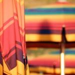 Closed colorful parasol closeup — Stock Photo