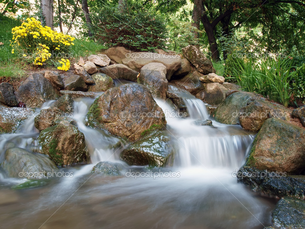 Japanese garden waterfall stock photo borismrdja 2413781 for Zen garden waterfall